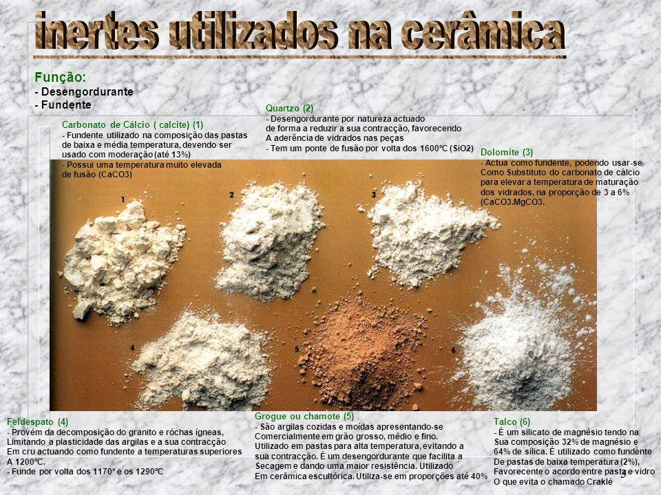3 Carbonato de Cálcio ( calcite) (1) - Fundente utilizado na composição das pastas de baixa e média temperatura, devendo ser usado com moderação (até