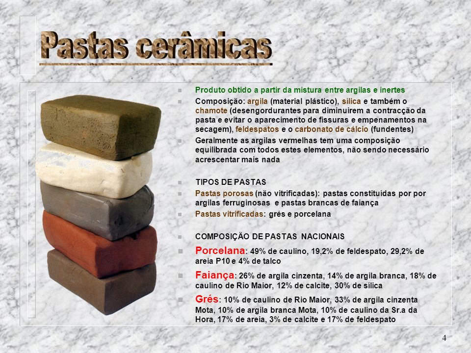 4 n Produto obtido a partir da mistura entre argilas e inertes n Composição: argila (material plástico), sílica e também o chamote (desengordurantes p