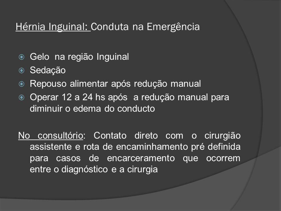 Hérnia Inguinal: Conduta na Emergência Gelo na região Inguinal Sedação Repouso alimentar após redução manual Operar 12 a 24 hs após a redução manual p