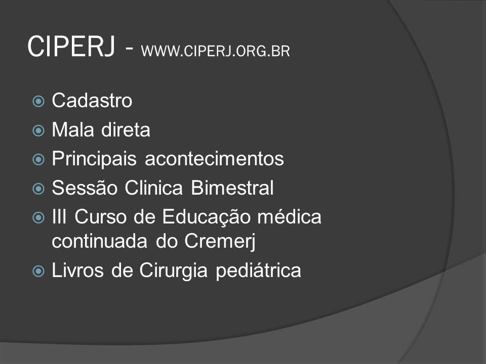 CIPERJ - WWW.CIPERJ.ORG.BR Cadastro Mala direta Principais acontecimentos Sessão Clinica Bimestral III Curso de Educação médica continuada do Cremerj