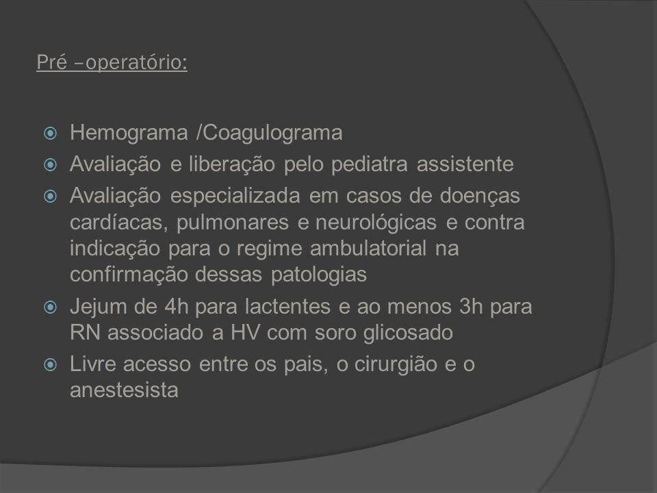 Pré –operatório: Hemograma /Coagulograma Avaliação e liberação pelo pediatra assistente Avaliação especializada em casos de doenças cardíacas, pulmona