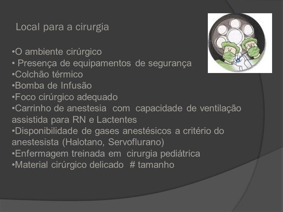 Local para a cirurgia O ambiente cirúrgico Presença de equipamentos de segurança Colchão térmico Bomba de Infusão Foco cirúrgico adequado Carrinho de