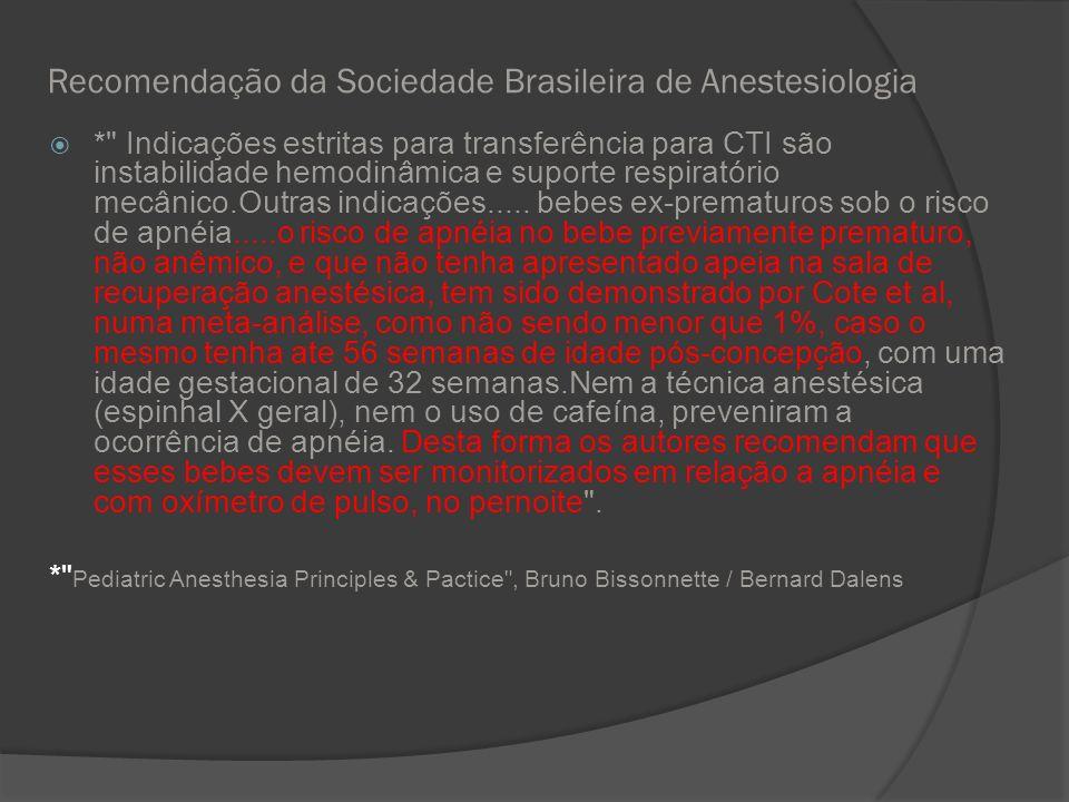 Recomendação da Sociedade Brasileira de Anestesiologia *