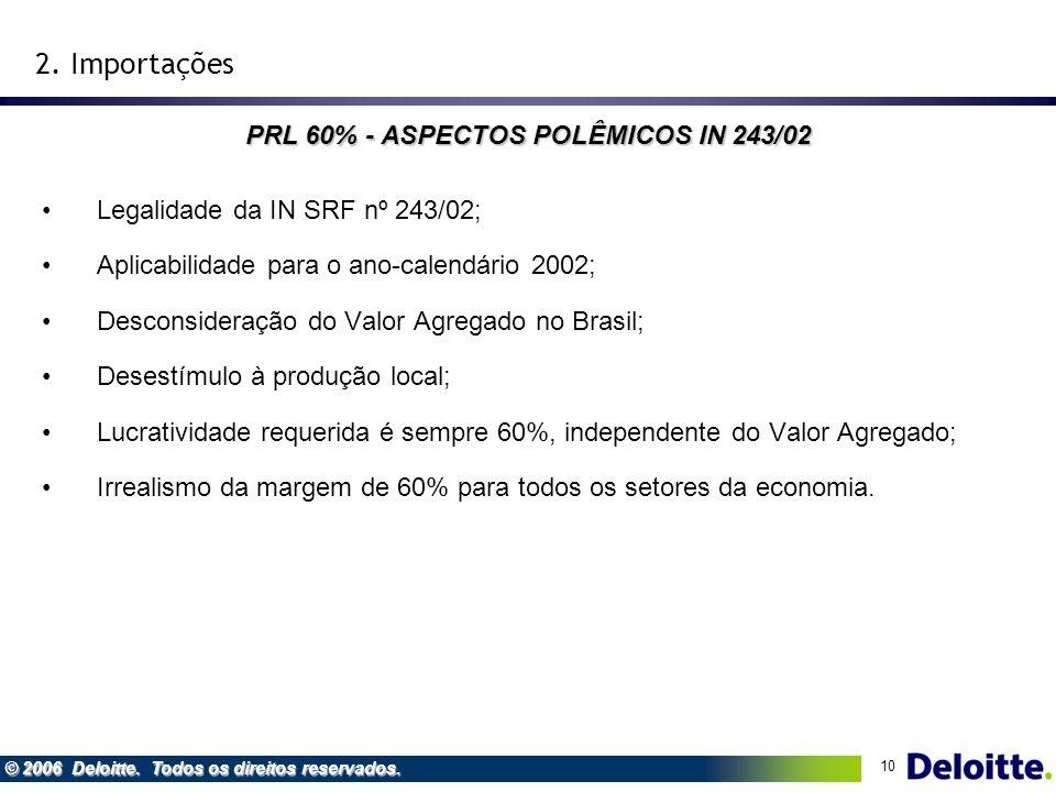 10 © 2006 Deloitte. Todos os direitos reservados. Legalidade da IN SRF nº 243/02; Aplicabilidade para o ano-calendário 2002; Desconsideração do Valor