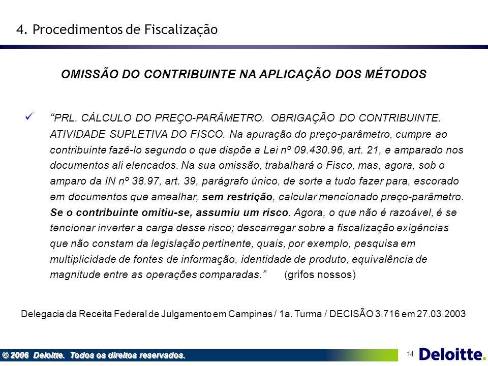 14 © 2006 Deloitte. Todos os direitos reservados. OMISSÃO DO CONTRIBUINTE NA APLICAÇÃO DOS MÉTODOS 4. Procedimentos de Fiscalização PRL. CÁLCULO DO PR