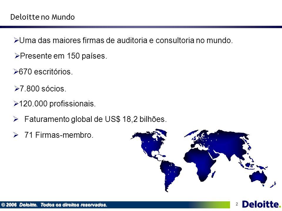 2 © 2006 Deloitte. Todos os direitos reservados. Faturamento global de US$ 18,2 bilhões. Deloitte no Mundo Uma das maiores firmas de auditoria e consu