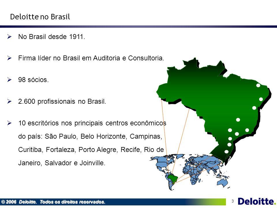 3 © 2006 Deloitte. Todos os direitos reservados. No Brasil desde 1911. Firma líder no Brasil em Auditoria e Consultoria. 98 sócios. 2.600 profissionai