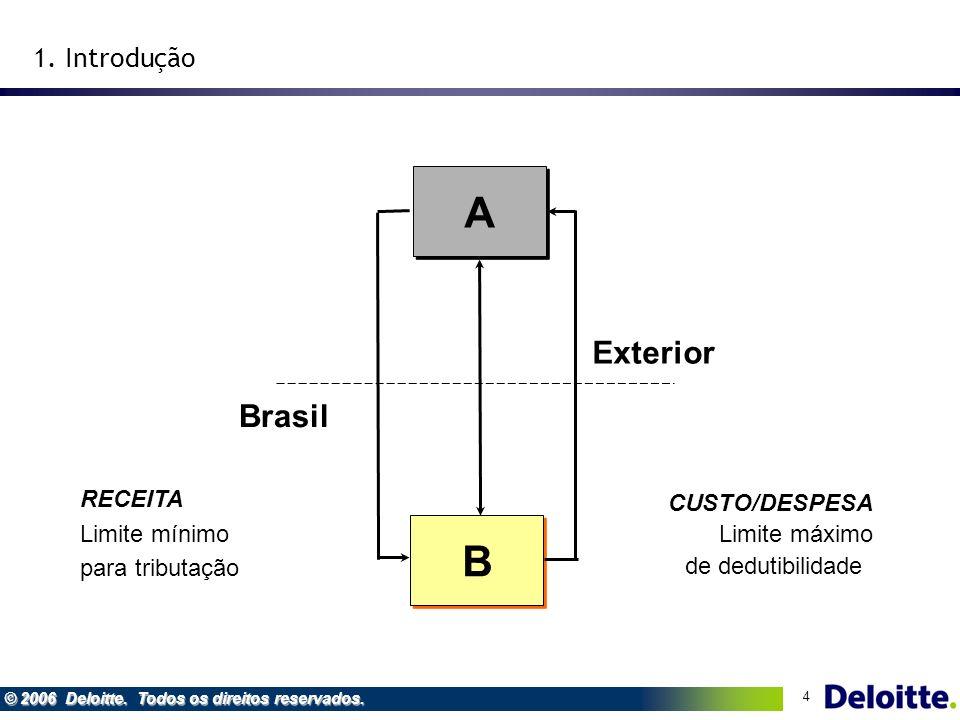 4 © 2006 Deloitte. Todos os direitos reservados. RECEITA Limite mínimo para tributação CUSTO/DESPESA Limite máximo de dedutibilidade Brasil Exterior B