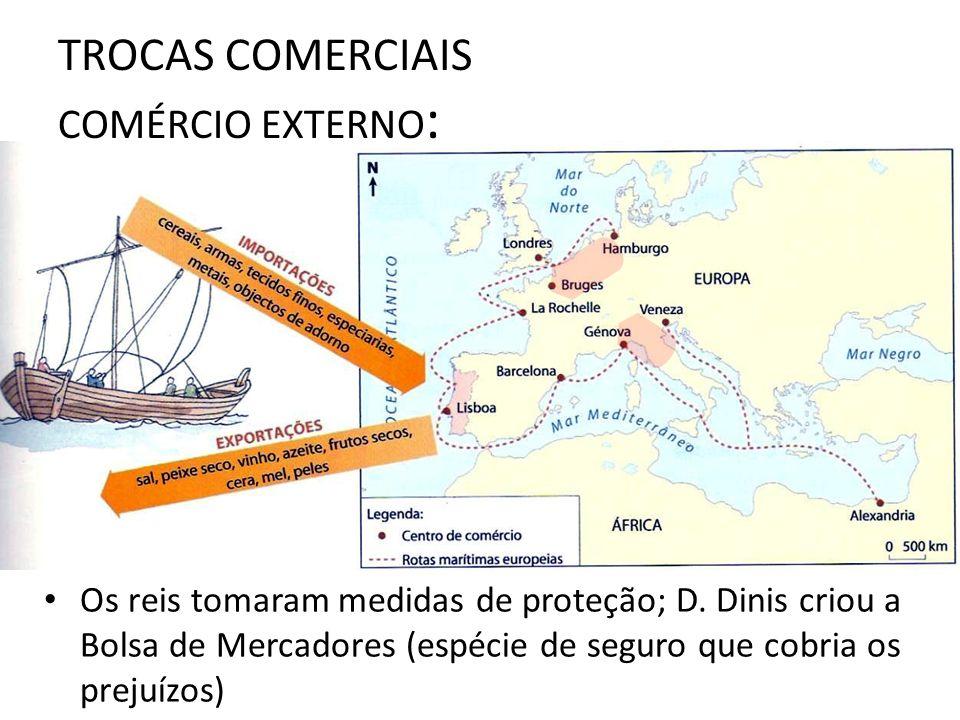 TROCAS COMERCIAIS COMÉRCIO EXTERNO : Os reis tomaram medidas de proteção; D. Dinis criou a Bolsa de Mercadores (espécie de seguro que cobria os prejuí
