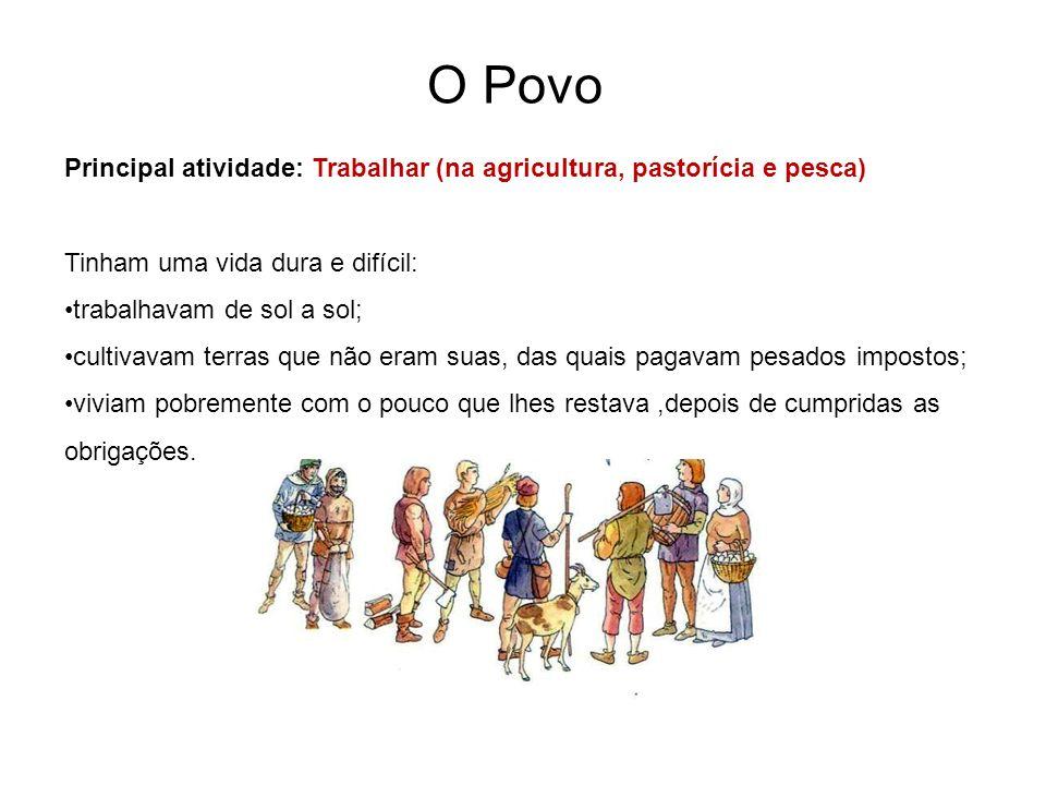 O Povo Principal atividade: Trabalhar (na agricultura, pastorícia e pesca) Tinham uma vida dura e difícil: trabalhavam de sol a sol; cultivavam terras