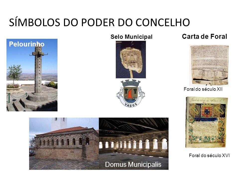 SÍMBOLOS DO PODER DO CONCELHO Foral do século XVI Pelourinho Domus Municipalis Selo Municipal Foral do século XII Carta de Foral