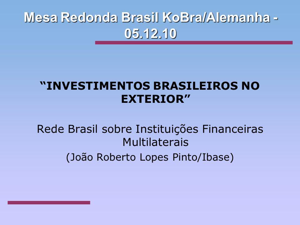 Mesa Redonda Brasil KoBra/Alemanha - 05.12.10 INVESTIMENTOS BRASILEIROS NO EXTERIOR Rede Brasil sobre Instituições Financeiras Multilaterais (João Rob
