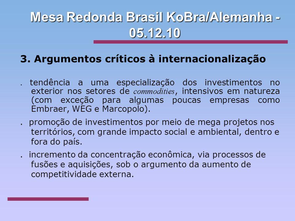 Mesa Redonda Brasil KoBra/Alemanha - 05.12.10 3. Argumentos críticos à internacionalização. tendência a uma especialização dos investimentos no exteri