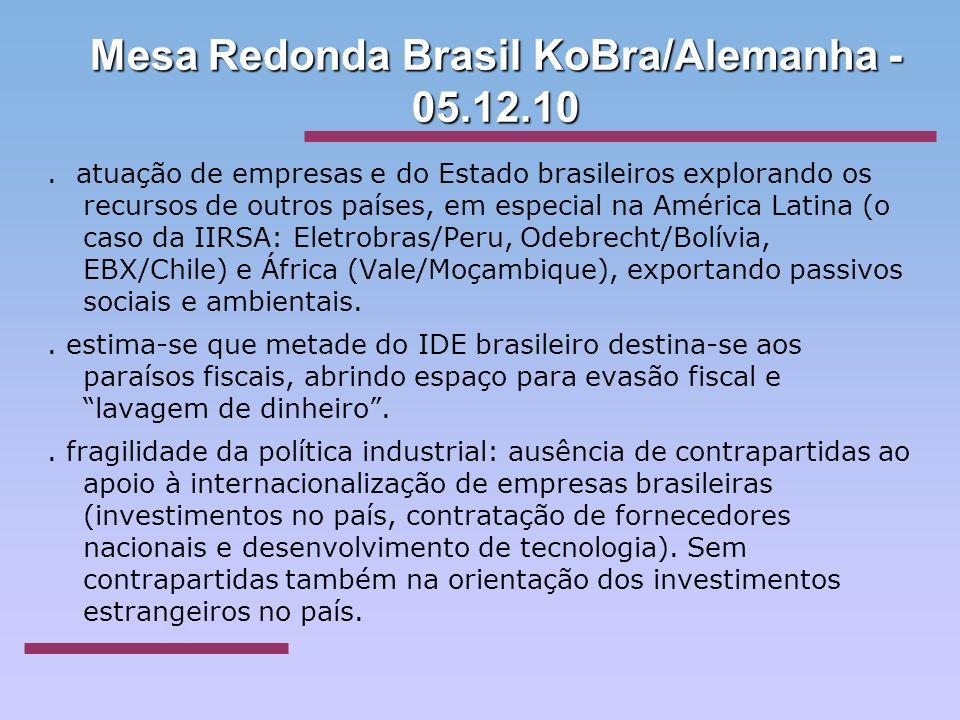 Mesa Redonda Brasil KoBra/Alemanha - 05.12.10. atuação de empresas e do Estado brasileiros explorando os recursos de outros países, em especial na Amé