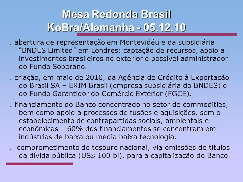 Mesa Redonda Brasil KoBra/Alemanha - 05.12.10. abertura de representação em Montevidéu e da subsidiária BNDES Limited em Londres: captação de recursos