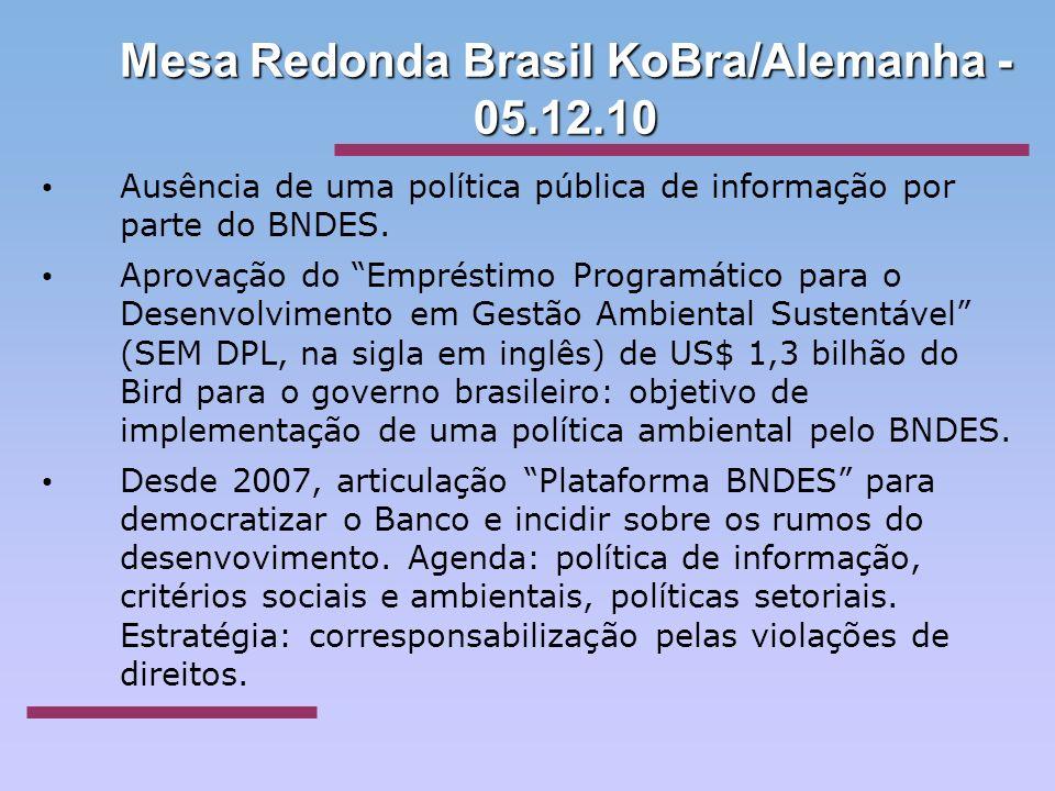 Mesa Redonda Brasil KoBra/Alemanha - 05.12.10 Ausência de uma política pública de informação por parte do BNDES. Aprovação do Empréstimo Programático