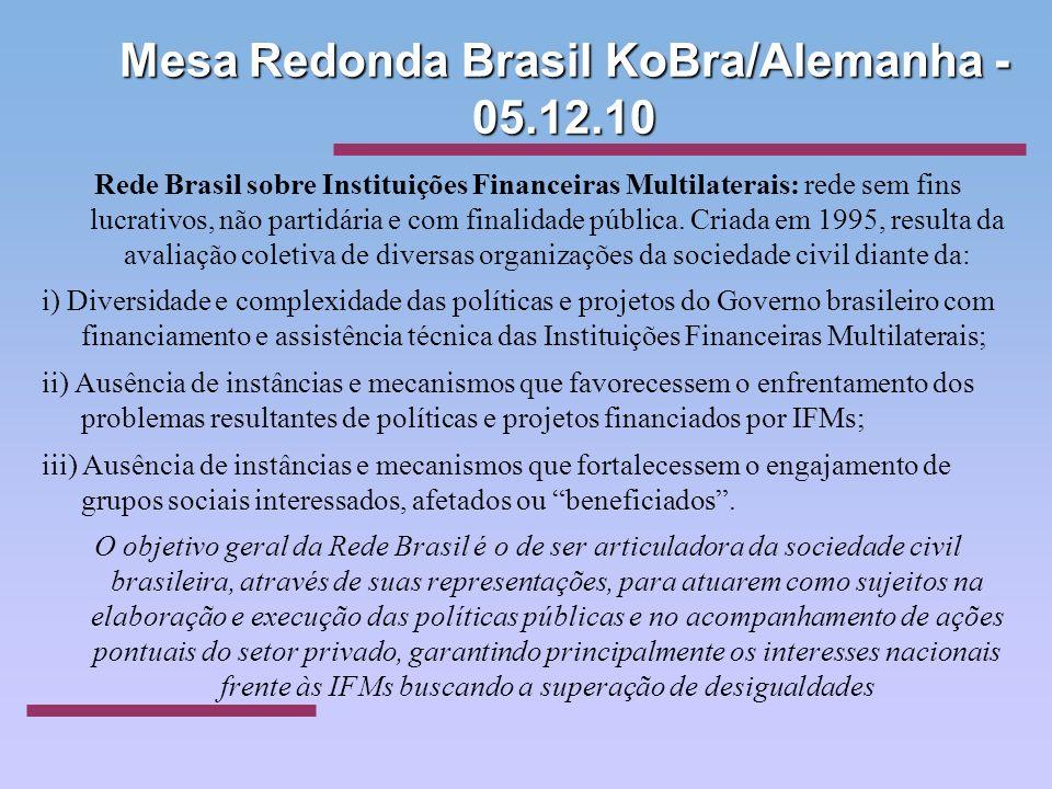 Mesa Redonda Brasil KoBra/Alemanha - 05.12.10 Rede Brasil sobre Instituições Financeiras Multilaterais: rede sem fins lucrativos, não partidária e com