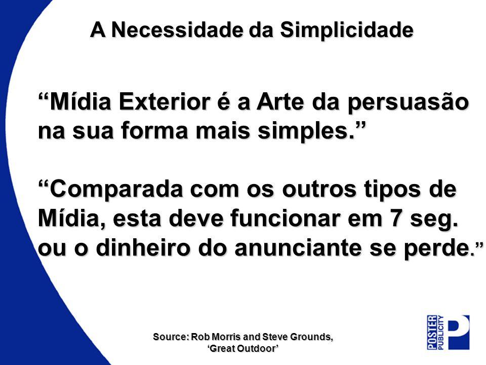 A Necessidade da Simplicidade Mídia Exterior é a Arte da persuasão na sua forma mais simples. Comparada com os outros tipos de Mídia, esta deve funcio