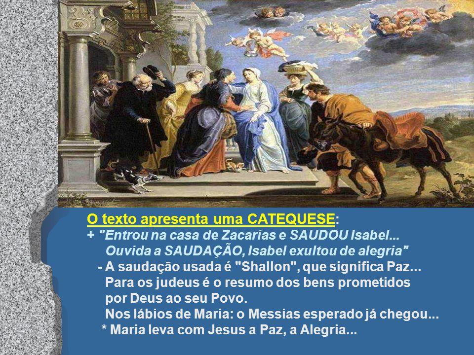No Evangelho, Isabel proclama Maria bem-aventurada. (Lc 1,39-56) Pela Visitação, na Judéia, Maria levava Jesus pelos caminhos da terra. Pela Dormição