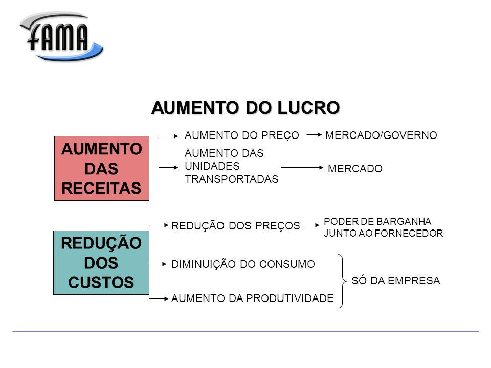 AUMENTO DAS RECEITAS REDUÇÃO DOS CUSTOS AUMENTO DO LUCRO AUMENTO DO PREÇO AUMENTO DAS UNIDADES TRANSPORTADAS REDUÇÃO DOS PREÇOS DIMINUIÇÃO DO CONSUMO MERCADO/GOVERNO MERCADO AUMENTO DA PRODUTIVIDADE PODER DE BARGANHA JUNTO AO FORNECEDOR SÓ DA EMPRESA