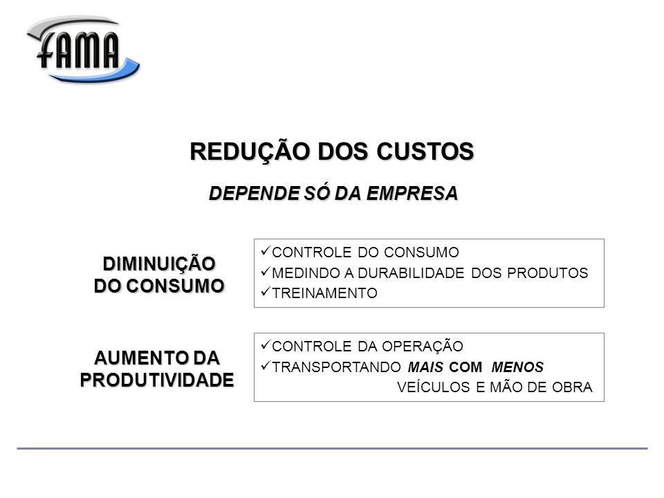 REDUÇÃO DOS CUSTOS DIMINUIÇÃO DO CONSUMO AUMENTO DA PRODUTIVIDADE DEPENDE SÓ DA EMPRESA CONTROLE DO CONSUMO MEDINDO A DURABILIDADE DOS PRODUTOS TREINAMENTO CONTROLE DA OPERAÇÃO TRANSPORTANDO MAIS COM MENOS VEÍCULOS E MÃO DE OBRA