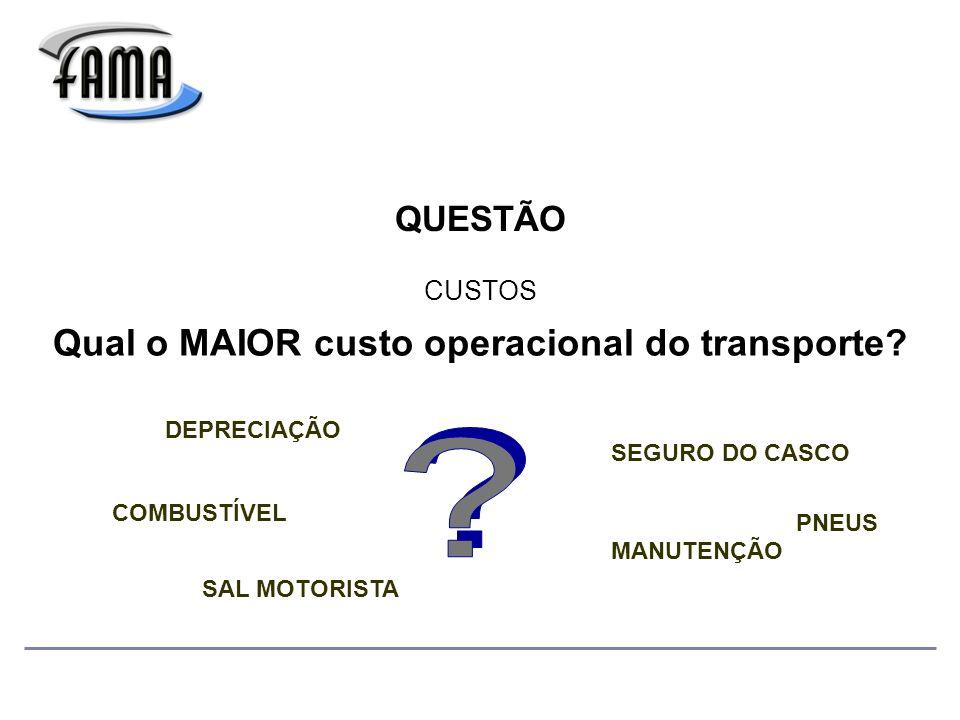 QUESTÃO Qual o MAIOR custo operacional do transporte.