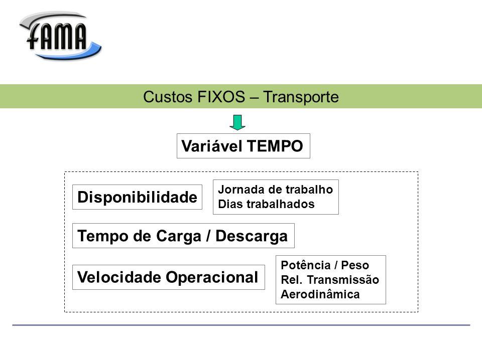 Variável TEMPO Custos FIXOS – Transporte Disponibilidade Velocidade Operacional Tempo de Carga / Descarga Jornada de trabalho Dias trabalhados Potência / Peso Rel.