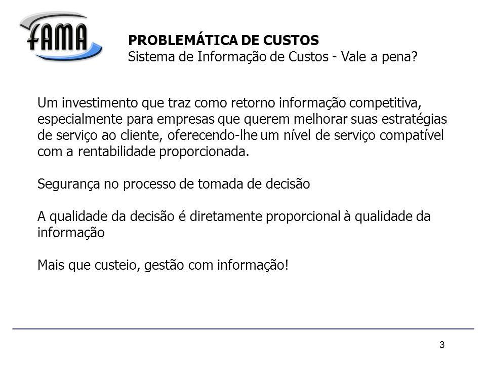 3 PROBLEMÁTICA DE CUSTOS Sistema de Informação de Custos - Vale a pena.