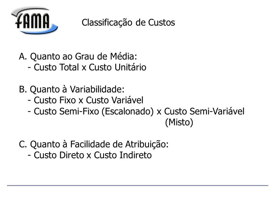 Classificação de Custos A.Quanto ao Grau de Média: - Custo Total x Custo Unitário B.