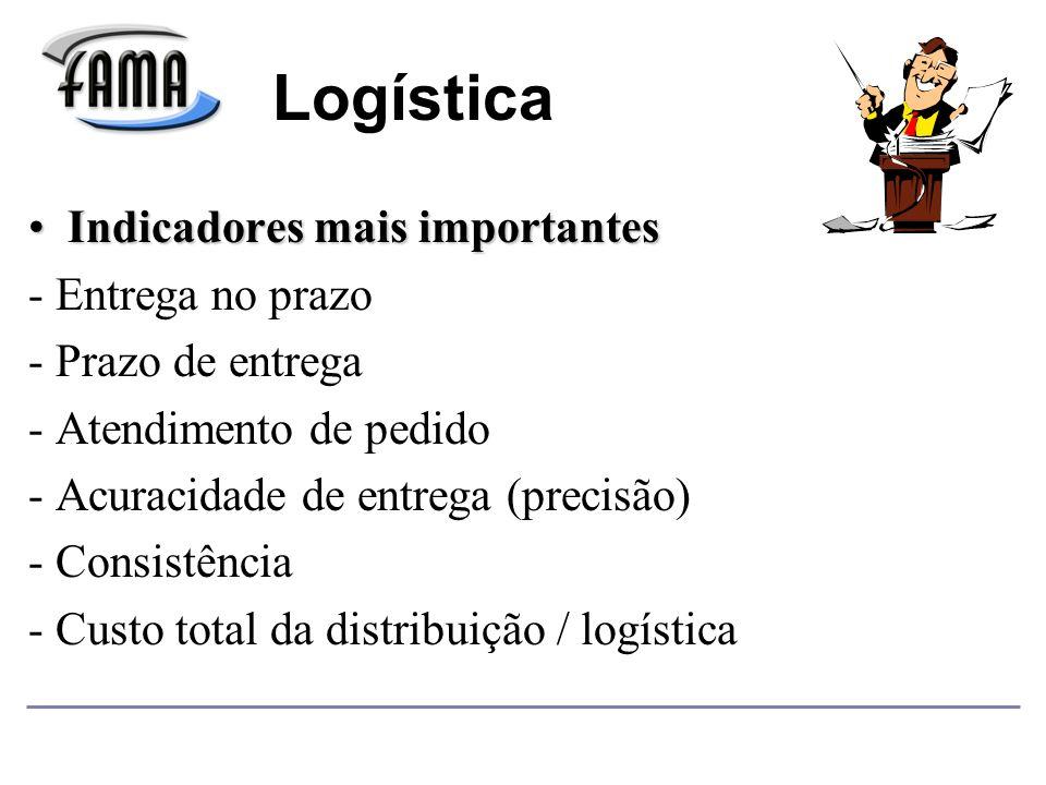 Indicadores mais importantesIndicadores mais importantes - Entrega no prazo - Prazo de entrega - Atendimento de pedido - Acuracidade de entrega (precisão) - Consistência - Custo total da distribuição / logística Logística