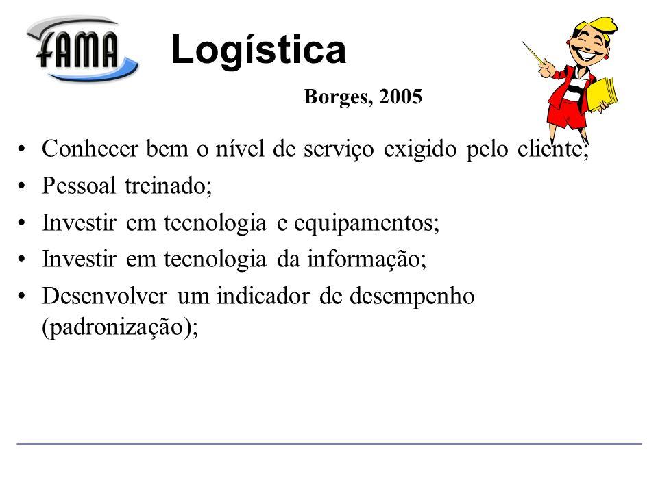 Conhecer bem o nível de serviço exigido pelo cliente; Pessoal treinado; Investir em tecnologia e equipamentos; Investir em tecnologia da informação; Desenvolver um indicador de desempenho (padronização); Logística Borges, 2005