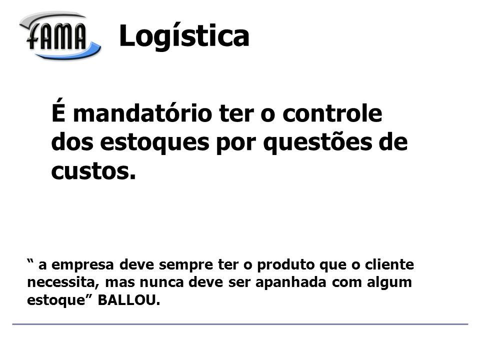 É mandatório ter o controle dos estoques por questões de custos.