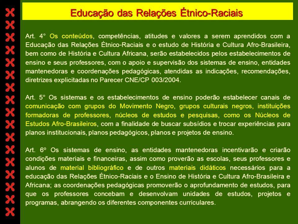 Educação das Relações Étnico-Raciais Art. 2° - As Diretrizes Curriculares Nacionais para a Educação das Relações Étnico- Raciais e para o Ensino de Hi