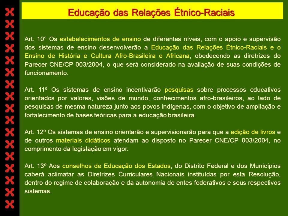 Educação das Relações Étnico-Raciais Art. 7º As instituições de ensino superior, respeitada a autonomia que lhe é devida, incluírão nos conteúdos de d