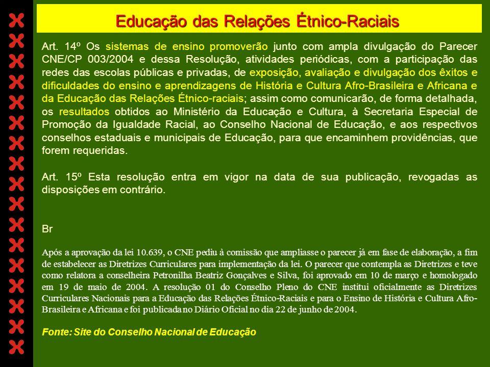 Educação das Relações Étnico-Raciais Art. 10° Os estabelecimentos de ensino de diferentes níveis, com o apoio e supervisão dos sistemas de ensino dese