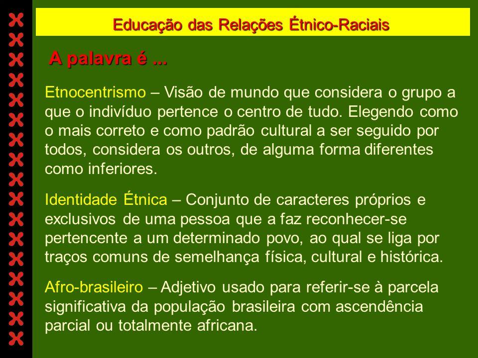 Educação das Relações Étnico-Raciais A palavra é...
