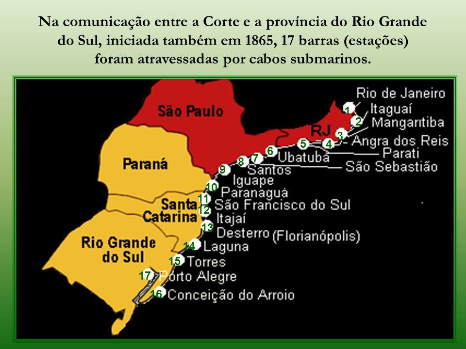 Morro da Viúva Na parte via cabo submarino o império promoveu, inicialmente, a ligação entre o Morro da Viúva (Botafogo) e a Fortaleza de Santa Cruz,