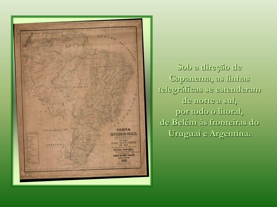 1 2 3 45 6 7 8 9 10 11 12 13 14 15 16 17 Na comunicação entre a Corte e a província do Rio Grande do Sul, iniciada também em 1865, 17 barras (estações