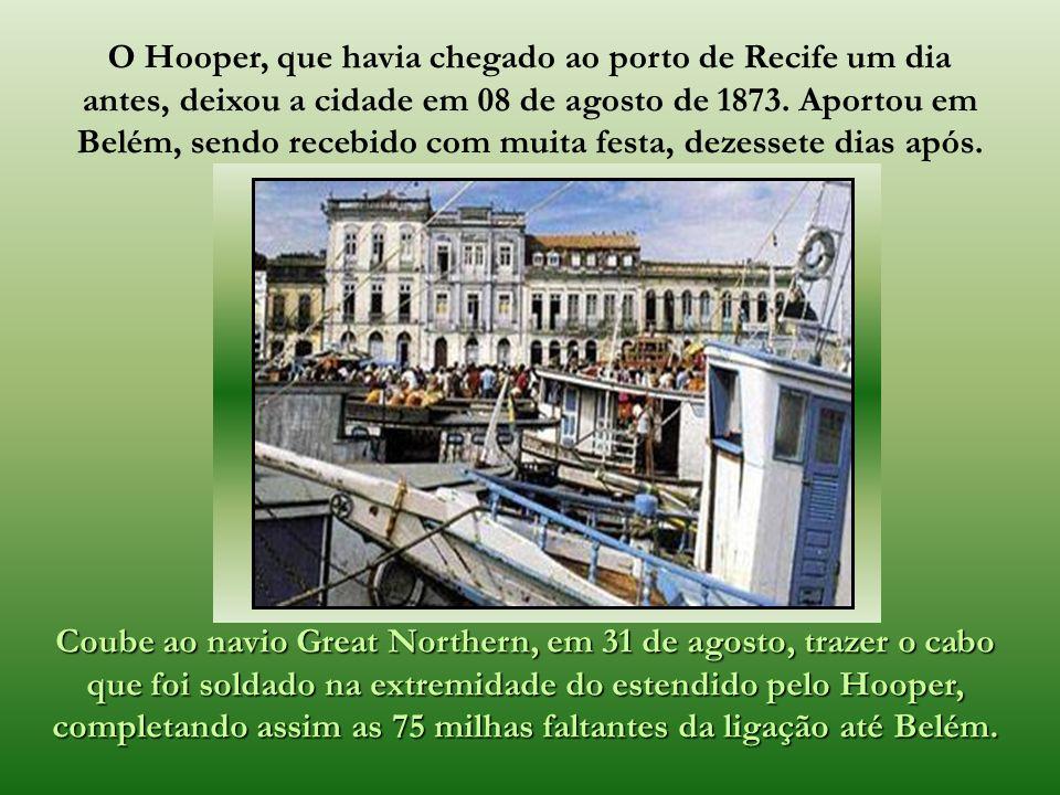 A obra foi custeada e realizada pela empresa inglesa - Western and Brazilian Telegraph Company. A supervisão, da instalação telegráfica da linha Perna