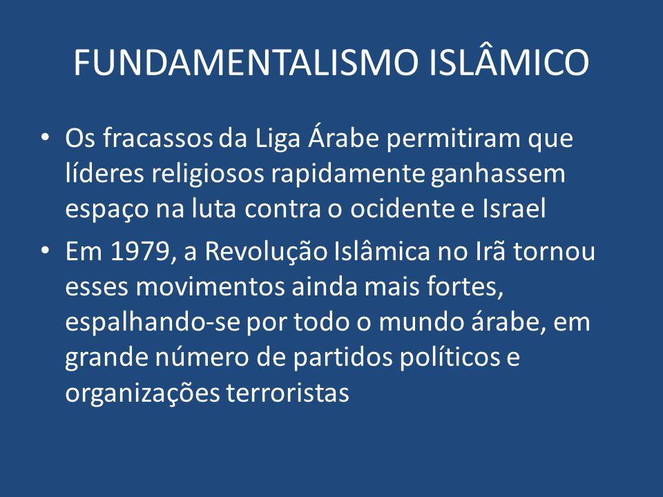 FUNDAMENTALISMO ISLÂMICO Os fracassos da Liga Árabe permitiram que líderes religiosos rapidamente ganhassem espaço na luta contra o ocidente e Israel