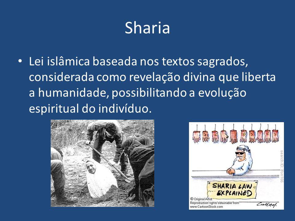 Sharia Lei islâmica baseada nos textos sagrados, considerada como revelação divina que liberta a humanidade, possibilitando a evolução espiritual do i
