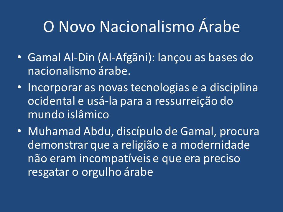 O Novo Nacionalismo Árabe Gamal Al-Din (Al-Afgãni): lançou as bases do nacionalismo árabe. Incorporar as novas tecnologias e a disciplina ocidental e