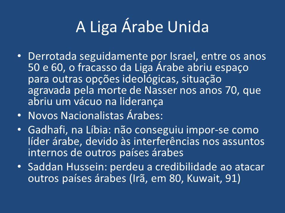 A Liga Árabe Unida Derrotada seguidamente por Israel, entre os anos 50 e 60, o fracasso da Liga Árabe abriu espaço para outras opções ideológicas, sit