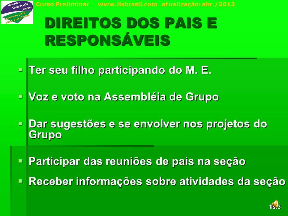 Curso Preliminar www.lisbrasil.com atualização: abr./2013 DIREITOS DOS PAIS E RESPONSÁVEIS Ter seu filho participando do M.
