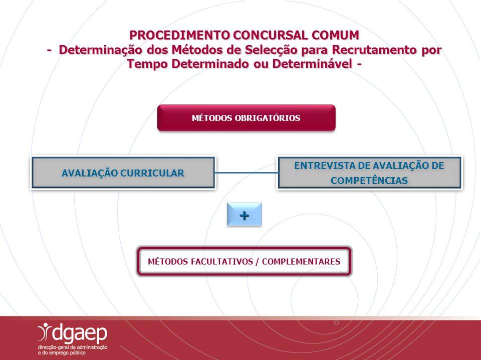 PROCEDIMENTO CONCURSAL COMUM - Determinação dos Métodos de Selecção para Recrutamento por Tempo Determinado ou Determinável - MÉTODOS OBRIGATÓRIOS MÉTODOS FACULTATIVOS / COMPLEMENTARES ++++ ++++ ENTREVISTA DE AVALIAÇÃO DE COMPETÊNCIAS ENTREVISTA DE AVALIAÇÃO DE COMPETÊNCIAS AVALIAÇÃO CURRICULAR