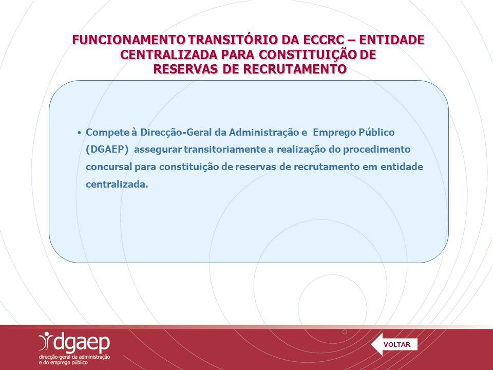 FUNCIONAMENTO TRANSITÓRIO DA ECCRC – ENTIDADE CENTRALIZADA PARA CONSTITUIÇÃO DE RESERVAS DE RECRUTAMENTO RESERVAS DE RECRUTAMENTO Compete à Direcção-G