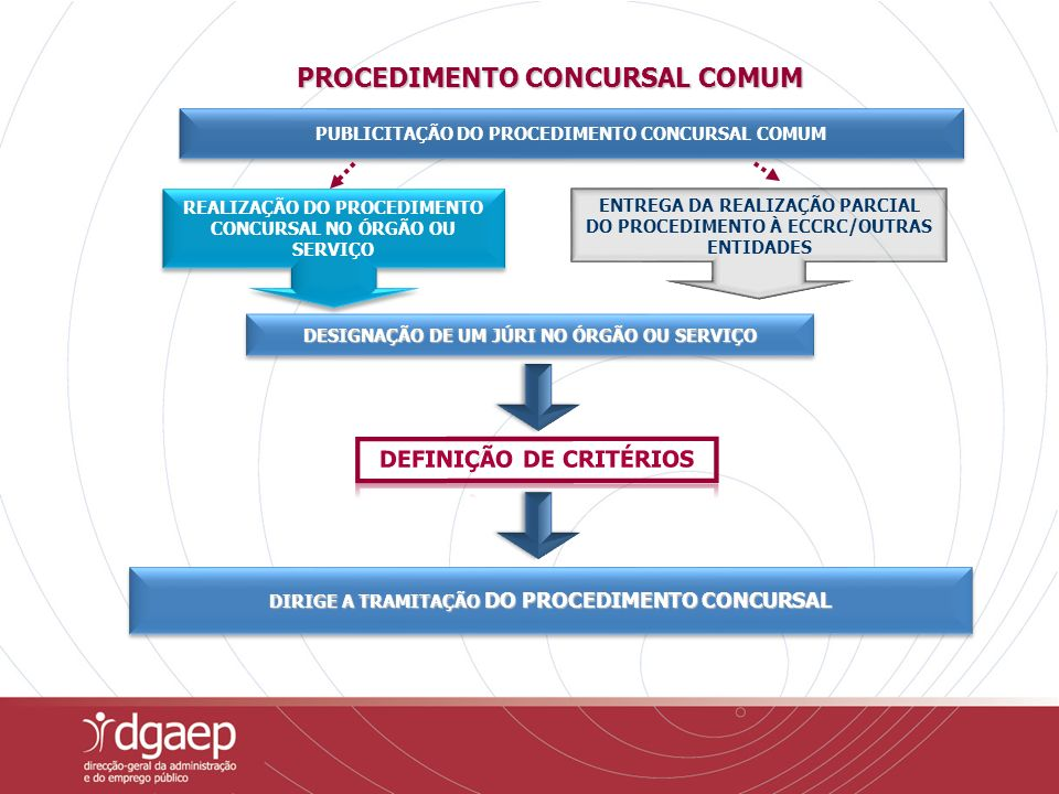 ENTREGA DA REALIZAÇÃO PARCIAL DO PROCEDIMENTO À ECCRC/OUTRAS ENTIDADES REALIZAÇÃO DO PROCEDIMENTO CONCURSAL NO ÓRGÃO OU SERVIÇO PUBLICITAÇÃO DO PROCED