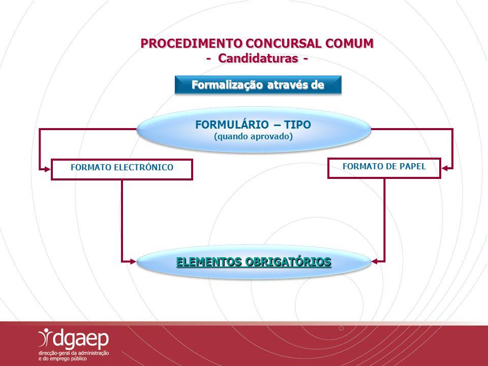 FORMATO ELECTRÓNICO FORMATO DE PAPEL FORMULÁRIO – TIPO (quando aprovado) FORMULÁRIO – TIPO (quando aprovado) Formalização através de ELEMENTOS OBRIGATÓRIOS ELEMENTOS OBRIGATÓRIOS ELEMENTOS OBRIGATÓRIOS ELEMENTOS OBRIGATÓRIOS PROCEDIMENTO CONCURSAL COMUM - Candidaturas -