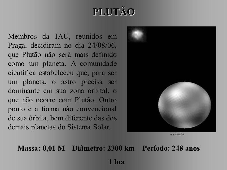 NETUNO Massa: 17,2 M Diâmetro: 49500 km Período: 165 anos 2 luas www.astro.iag.usp.br