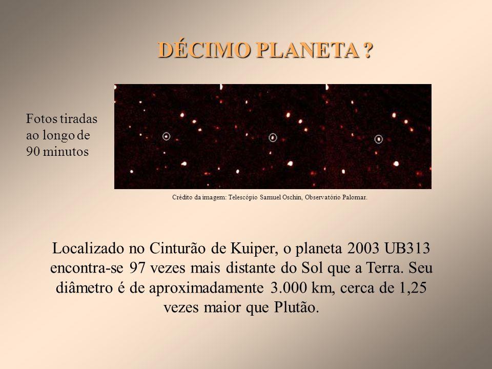 PLUTÃO Massa: 0,01 M Diâmetro: 2300 km Período: 248 anos 1 lua Membros da IAU, reunidos em Praga, decidiram no dia 24/08/06, que Plutão não será mais definido como um planeta.